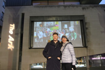 The Ark's director Aideen Howard and Artist in Residence Shaun Dunne at a screening of our short film 'Its A Right' in Meeting House Square for Universal Children's Day, 2016